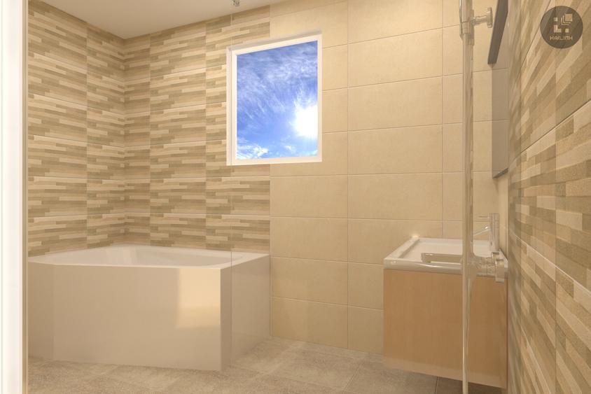 Sự kết hợp của mẫu gạch INNOVA 3604 cùng bồn tắm tạo nên một không gian hiện đại, sang trọng