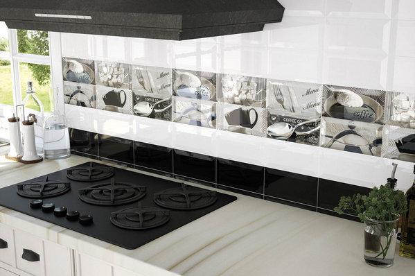 chọn gạch ốp tường bóng trang trí cho bếp tông màu trắng