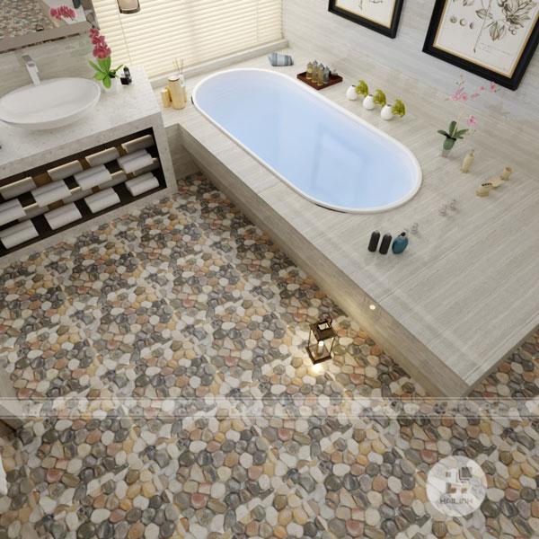 Gạch lát nền nhà tắm hình sỏi chống trơn